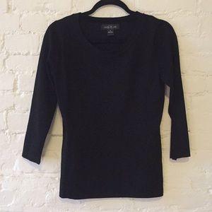 August Silk 3/4 Sleeve Scoop Neck Sweater